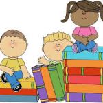 kids sitting on books clipart